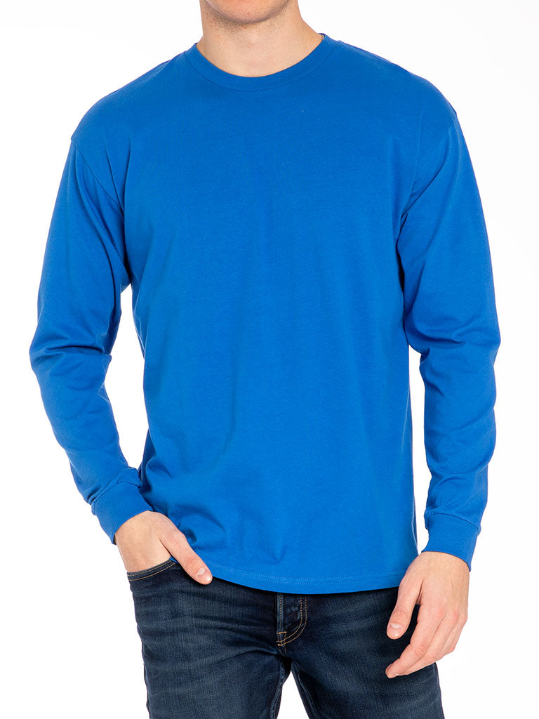 The 24 Blank Premium L/S Crew Tee in Strong Blue