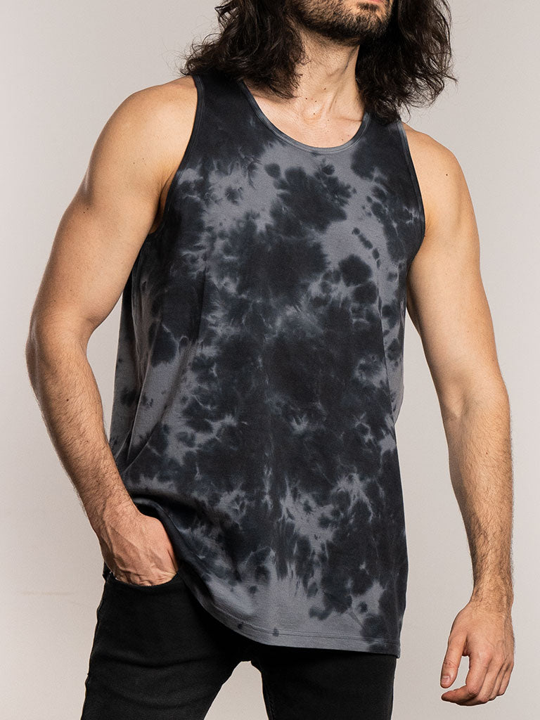 The 24 Blank Premium Tank Top in Black Tie Dye