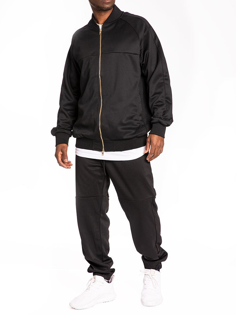 The 24 Blank Premium Poly Track Jacket in Black