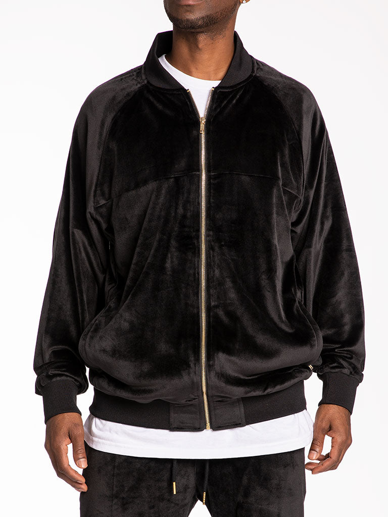 The 24 Blank Premium Velour Track Jacket in Black