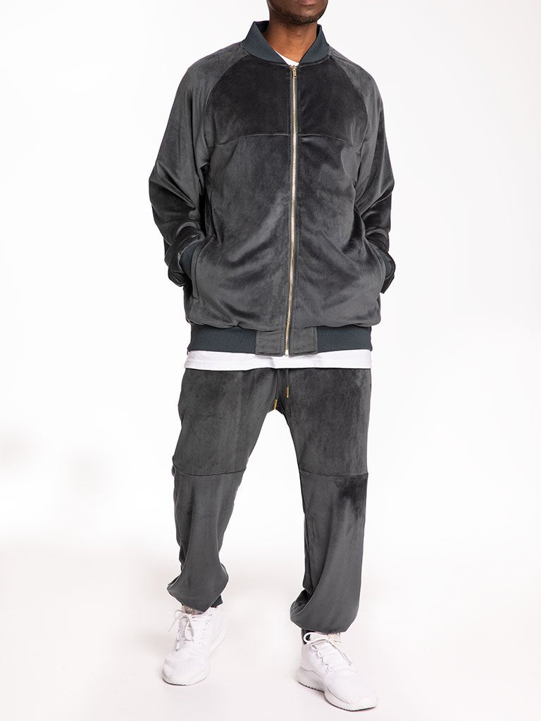 The 24 Blank Premium Velour Track Jacket in Grey