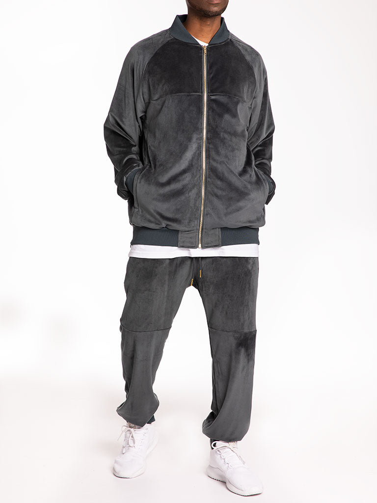 The 24 Blank Premium Velour Track Pants in Grey