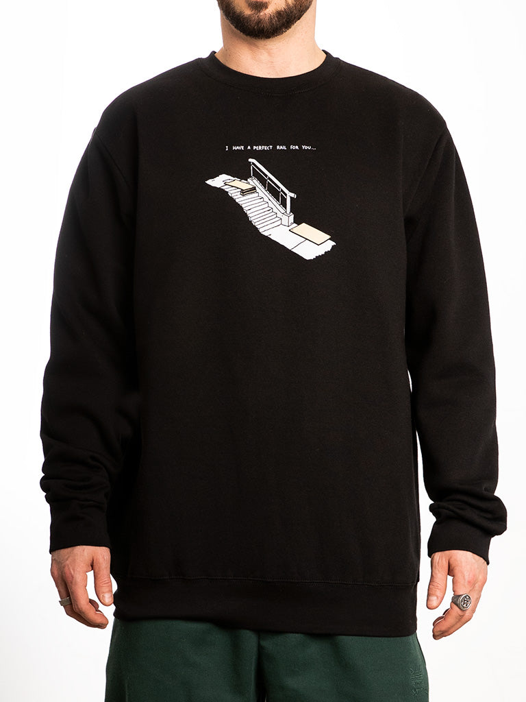 The Brother Merle Perfect Rail Crew Sweatshirt in Black
