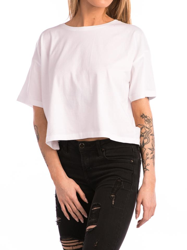 The 24 Ladies Premium Boxy Crop Tee in White