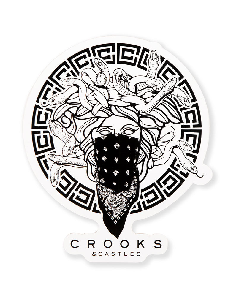 THE CROOKS AND CASTLES MEDUS STICKER IN WHITE-BLACK