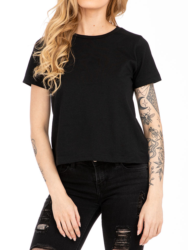 The 24 Ladies Premium Baby Crop Tee in Black