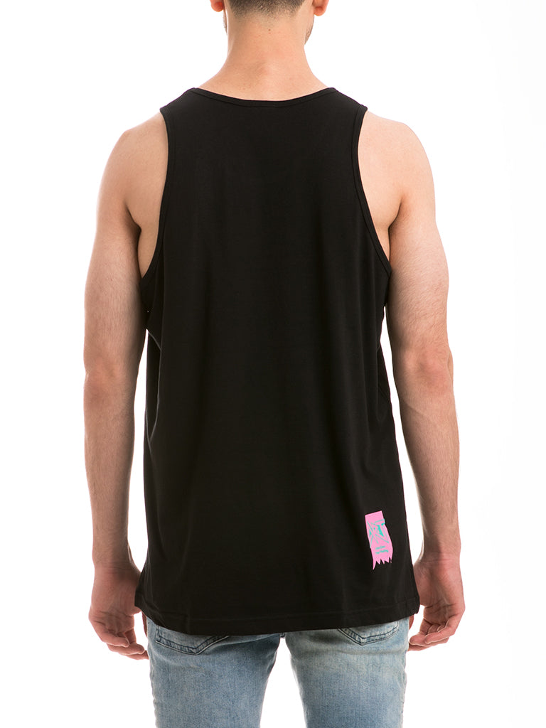The ACE Knit Tank Top in Black/Pink