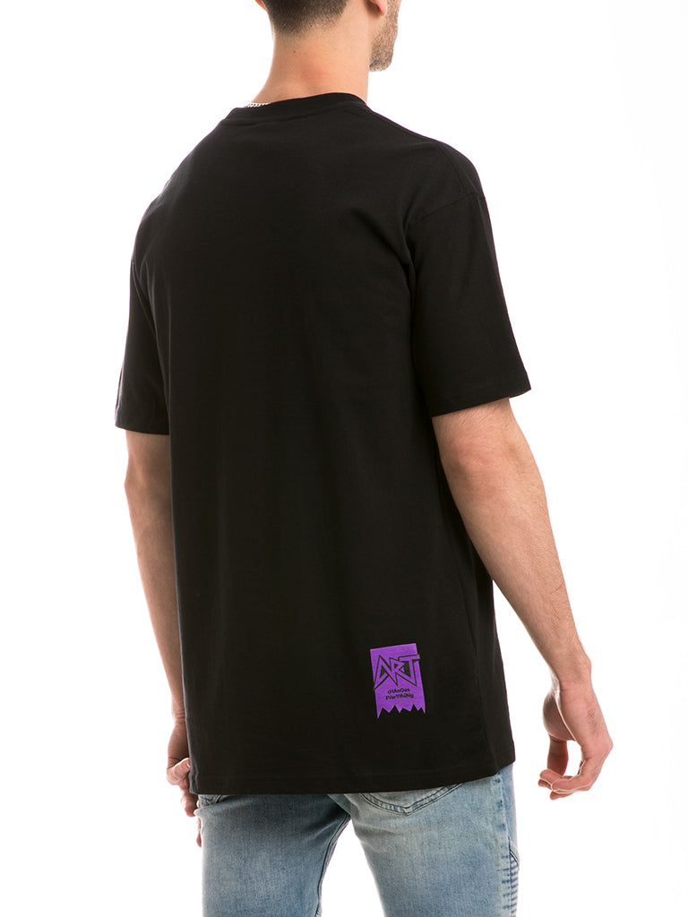 The ACE Ace Knit Crew Tee in Black/Purple