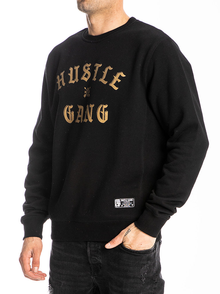 The Hustle Gang Face Off Crew Sweatshirt in Black-Gold
