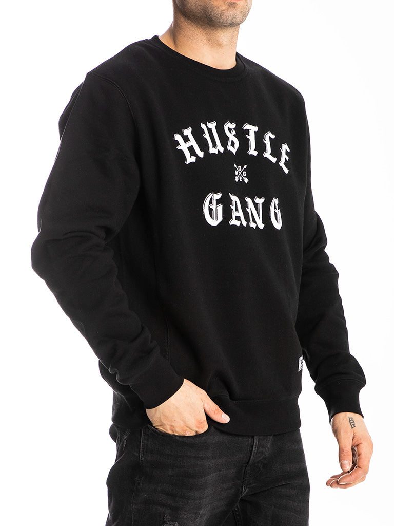 The Hustle Gang Face Off Crew Sweatshirt in Black-White