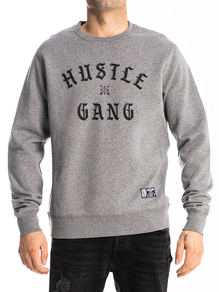 The Hustle Gang Face Off Crew Sweatshirt in Heather-Black