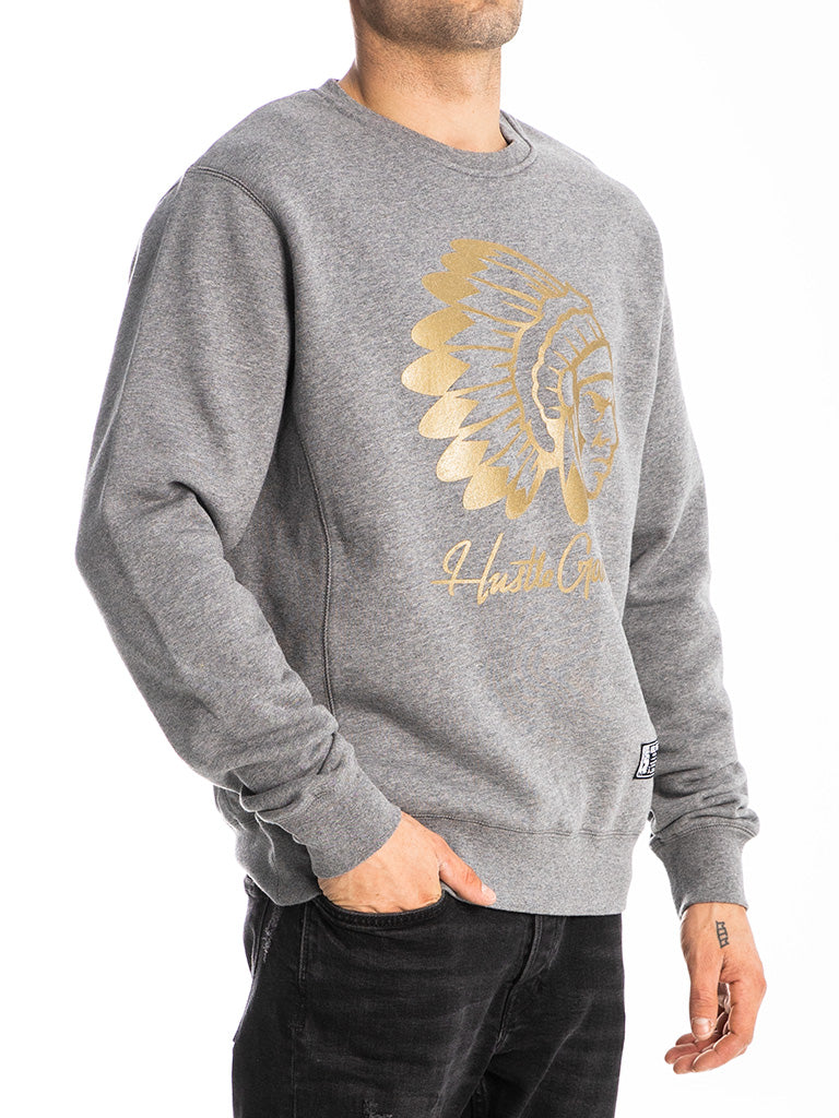 The Hustle Gang Signature Chief Crew Sweatshirt in Heather