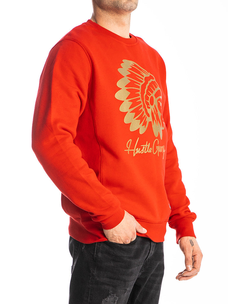 The Hustle Gang Signature Chief Crew Sweatshirt in Red