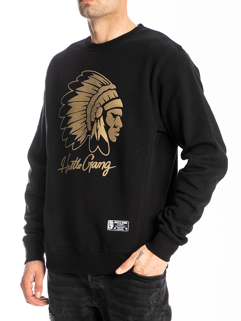 The Hustle Gang Signature Chief Crew Sweatshirt in Black