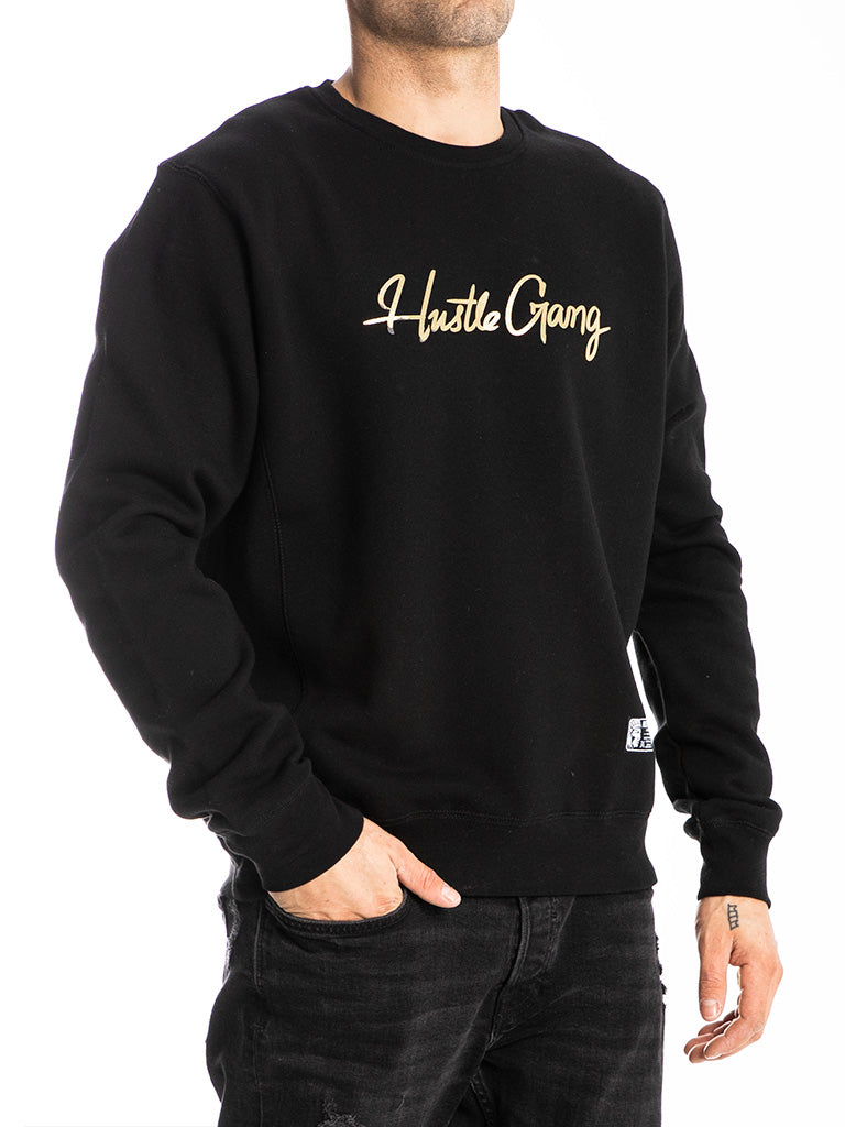 The Hustle Gang Signature Crew Sweatshirt in Black