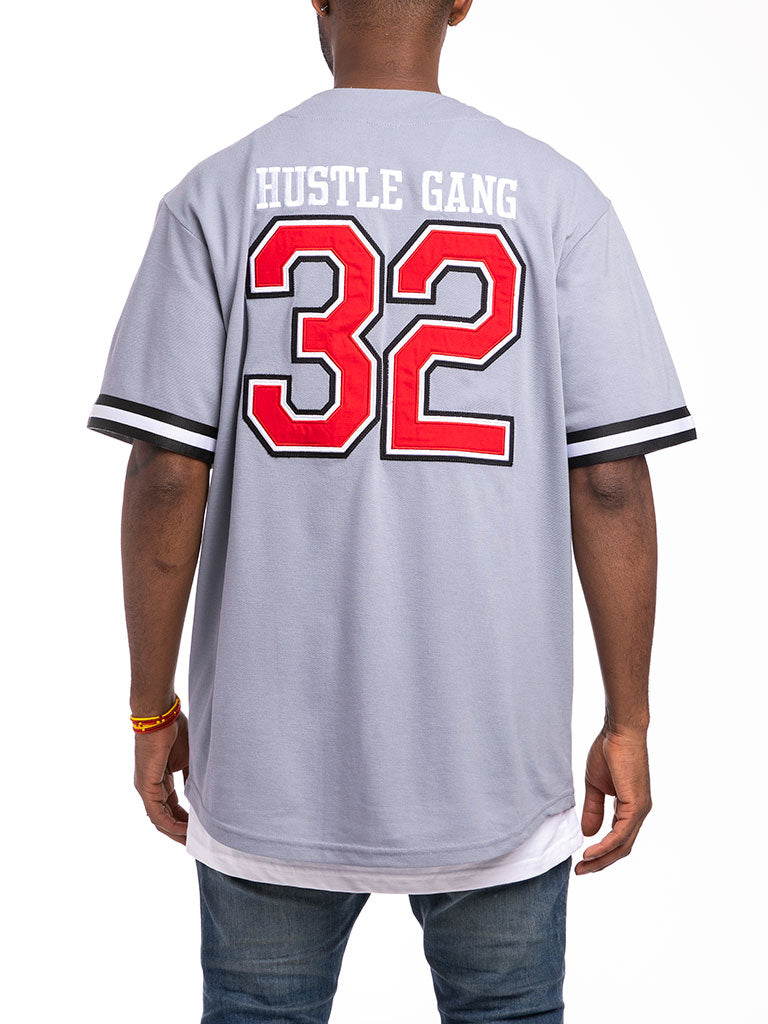 The Hustle Gang Warrior Baseball Jersey in Heather Grey