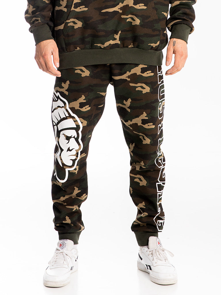 The Hustle Gang Collegiate Sweatpants in Camo