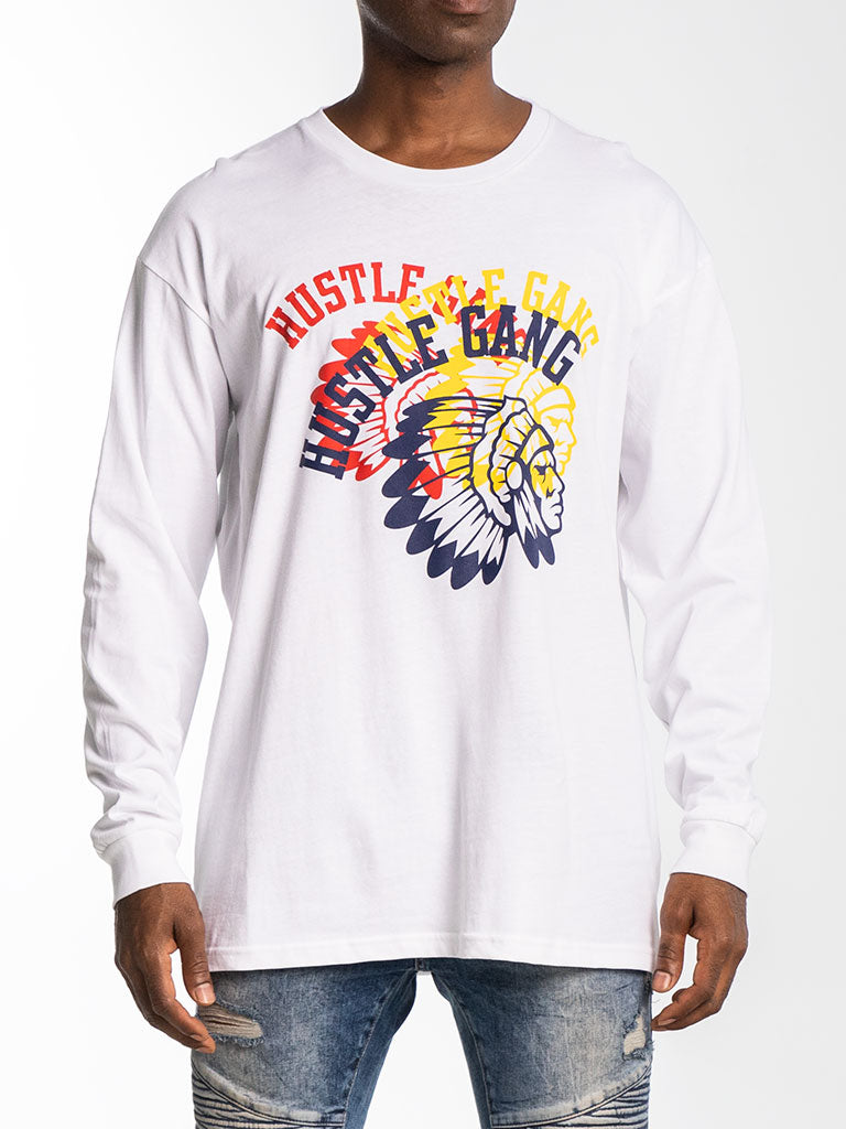 The Hustle Gang Tri-Color L/S Tee in White