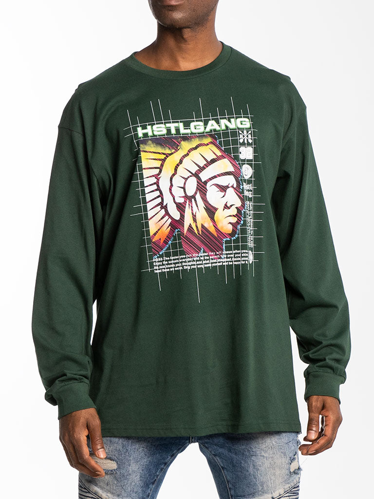 The Hustle Gang Interstellar L/S Tee in Forest Green