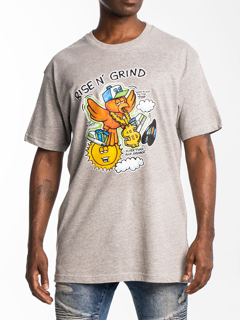 The Hustle Gang Rise & Grind Crew Tee in Heather Grey