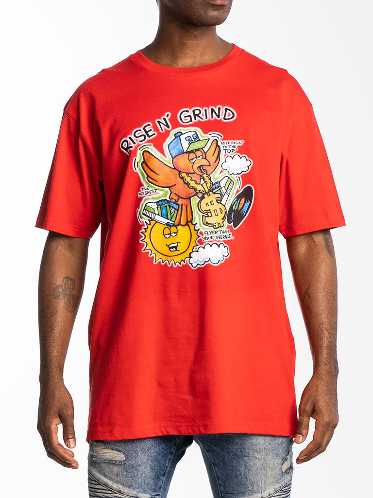 The Hustle Gang Rise & Grind Crew Tee in Red