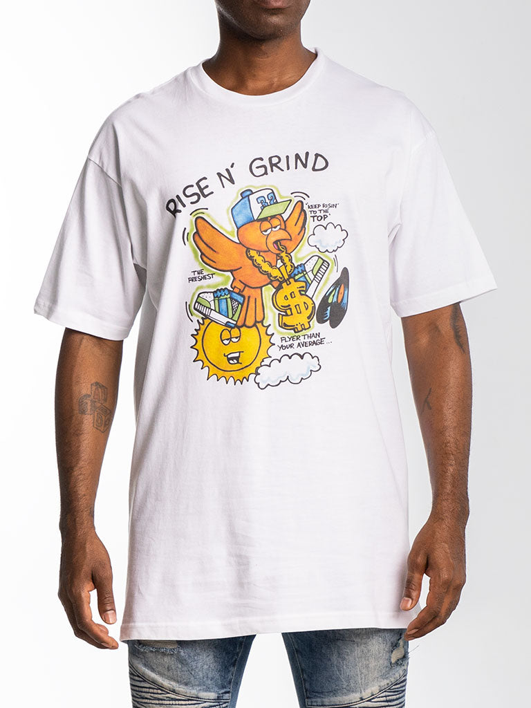 The Hustle Gang Rise & Grind Crew Tee in White