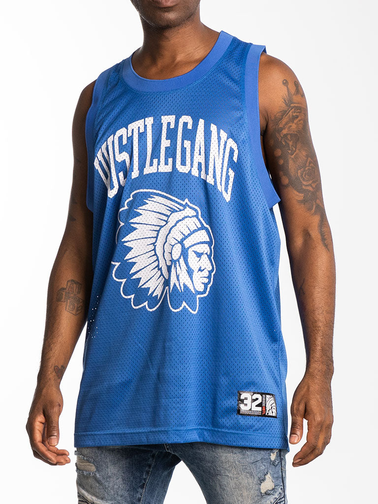 The Hustle Gang Champion Basketball Jersey in Blue