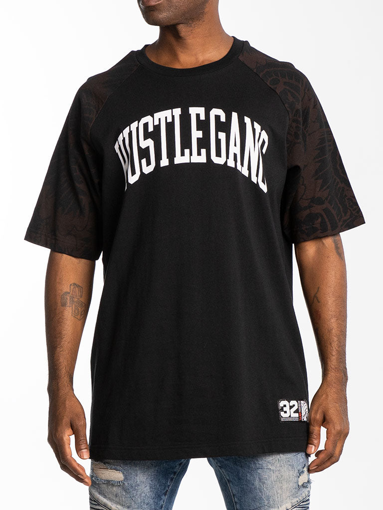 The Hustle Gang Unlimited Raglan Tee in Black