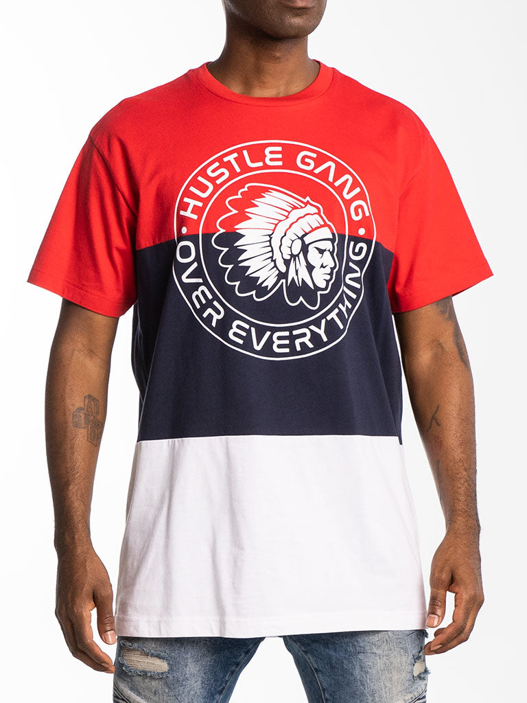 The Hustle Gang Tri-Color S/S Crew Tee in  Red Multi