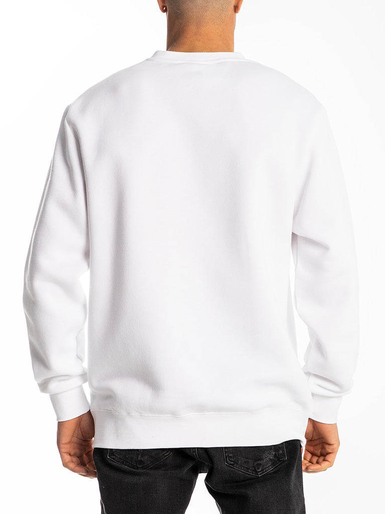 The Hustle Gang Up Close Ink Crew Sweatshirt in White
