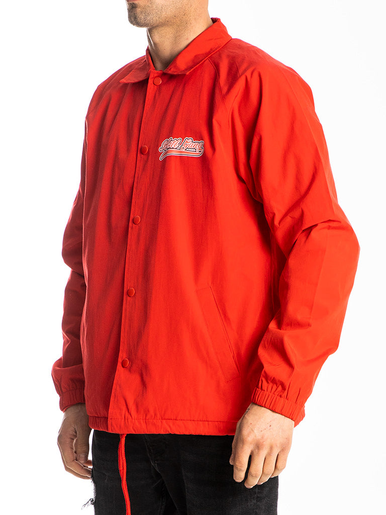 The Hustle Gang Down To Fight Coach Jacket in Red