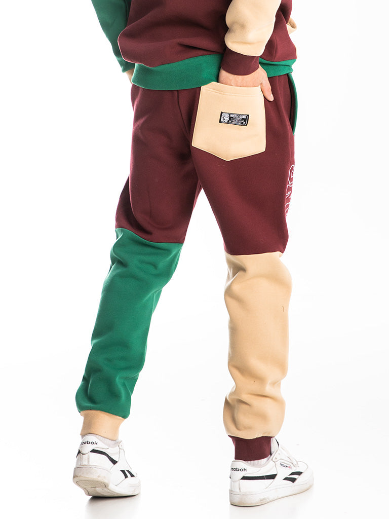 The Hustle Gang Tri-Color Sweatpants in Burgundy Multi