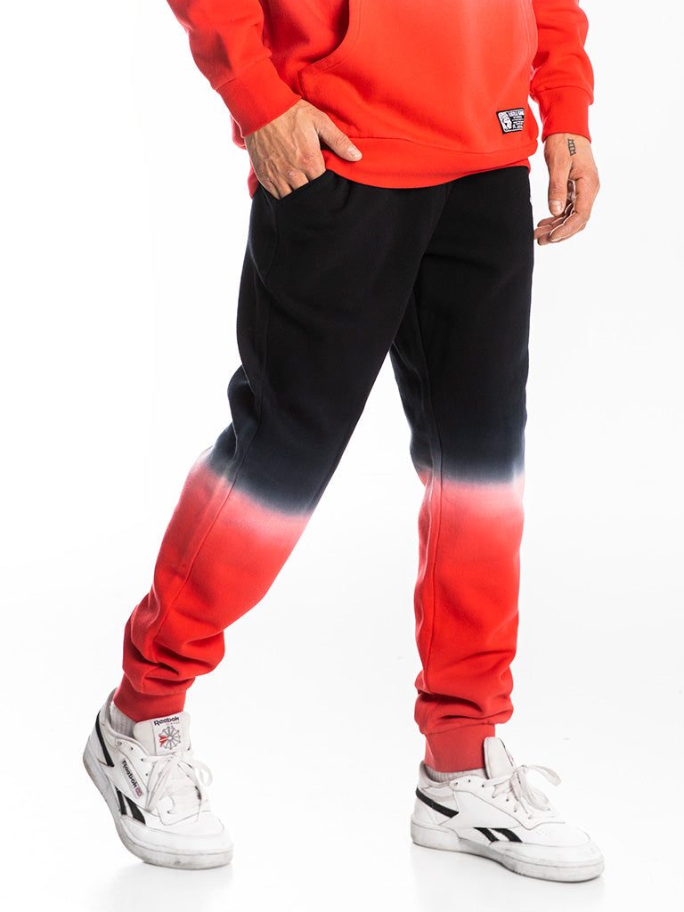 The Hustle Gang Dip Dyed Sweatpants in Red Multi