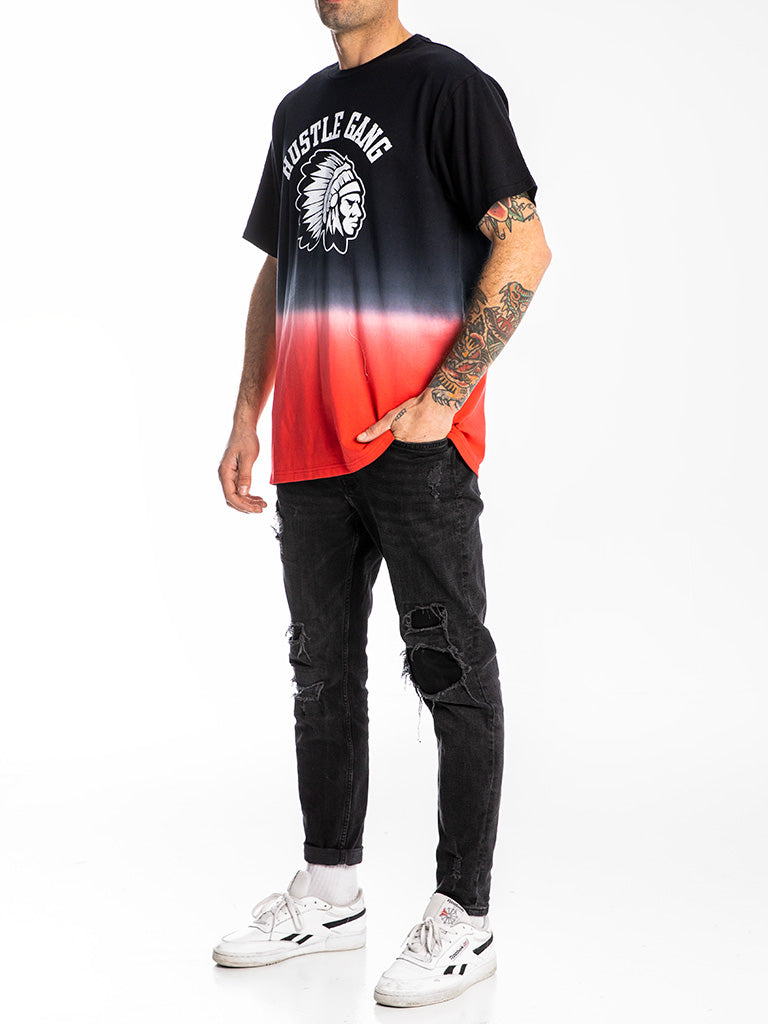 The Hustle Gang Dip Dyed Crew Tee in Red Multi
