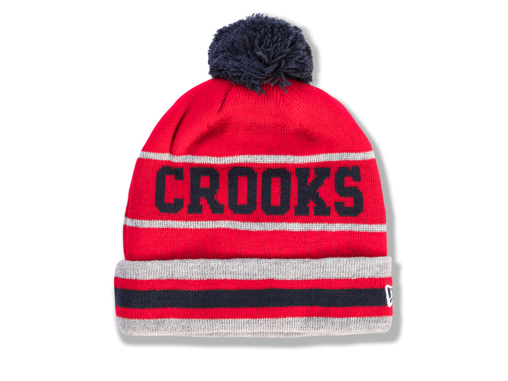 The Crooks and Castles Crooks Stripe Pom Beanie in Red