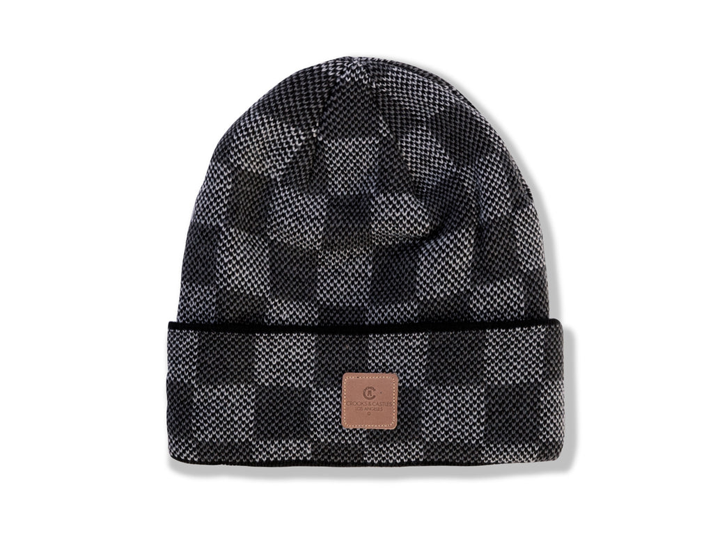 The Crooks and Castles Check Beanie in Black