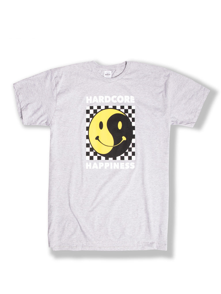 The Whatever Forever Hardcore Happiness Crew Tee in Heather Grey