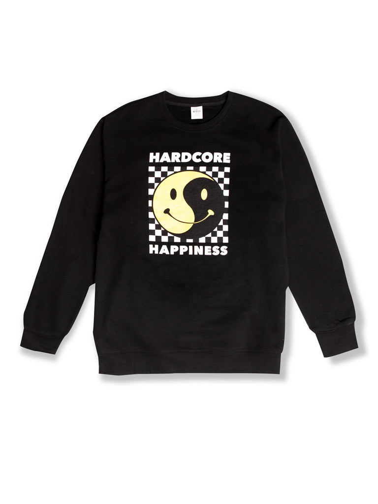 The Whatever Forever Hardcore Happiness Crew Sweatshirt in Black
