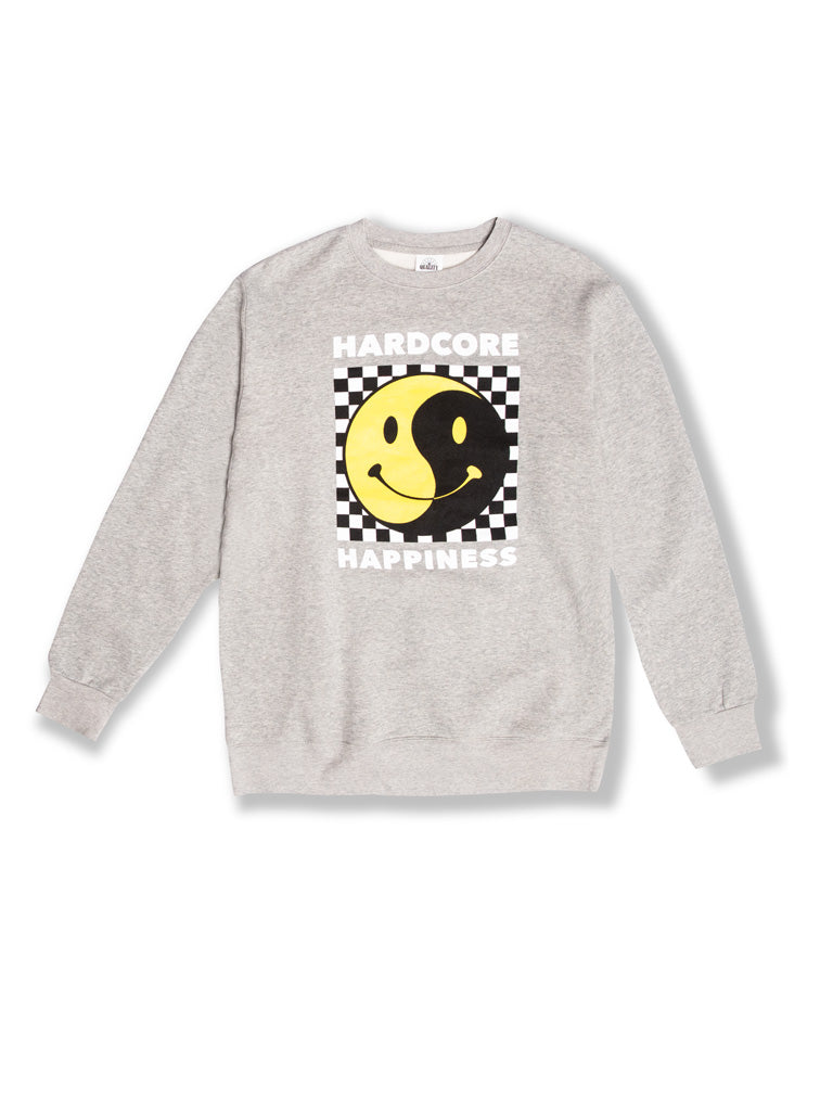 The Whatever Forever Hardcore Happiness Crew Sweatshirt in Heather Grey