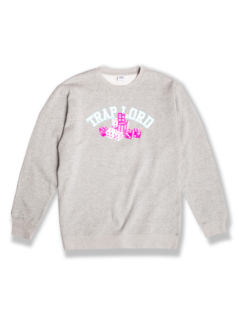 The TL Roll The Dice Crew Sweatshirt in Heather Grey