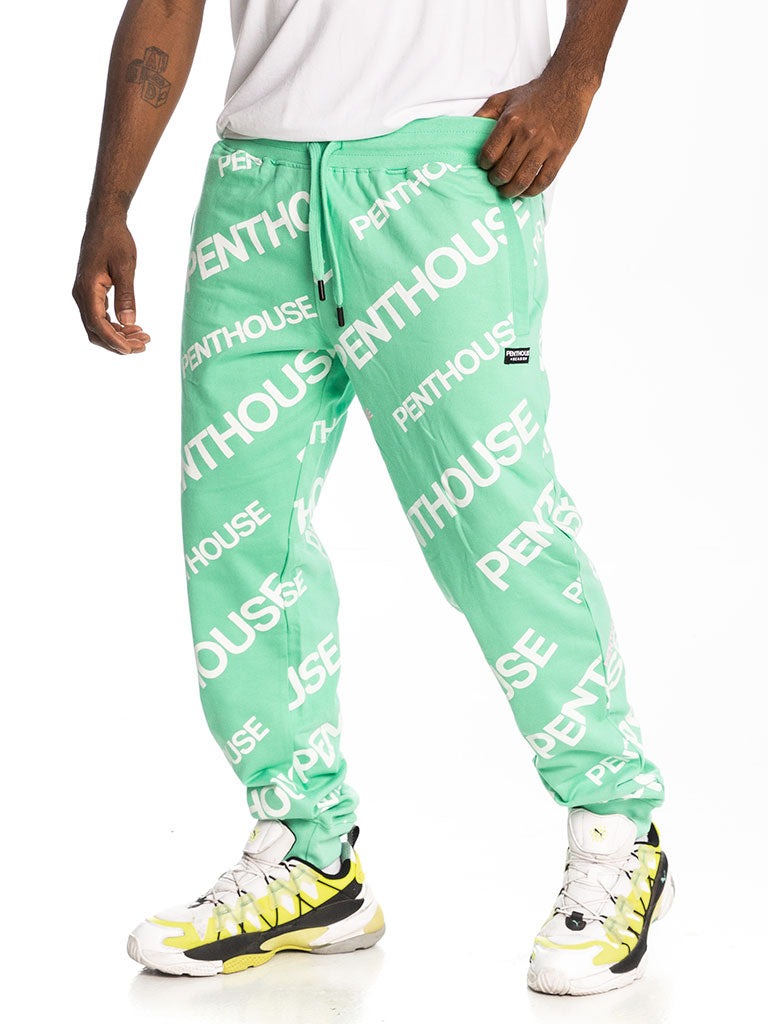 The Reason Penthouse Logo Jogger in Aqua