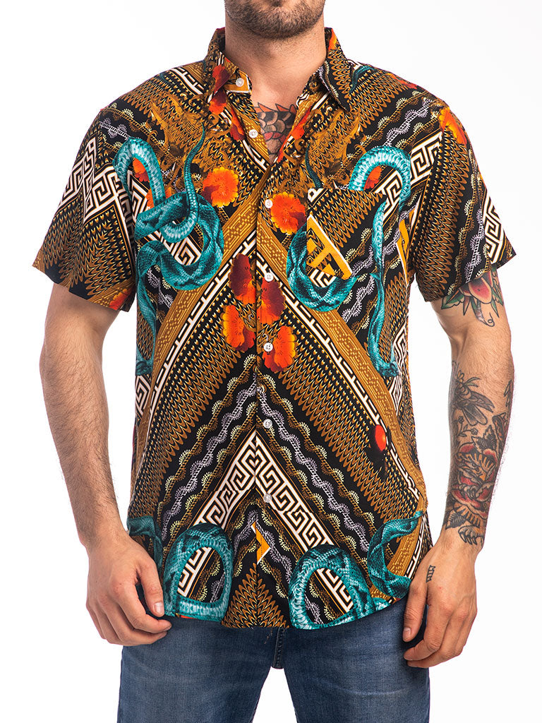 The Reason Serpents S/S Button Down Shirt in Black Multi