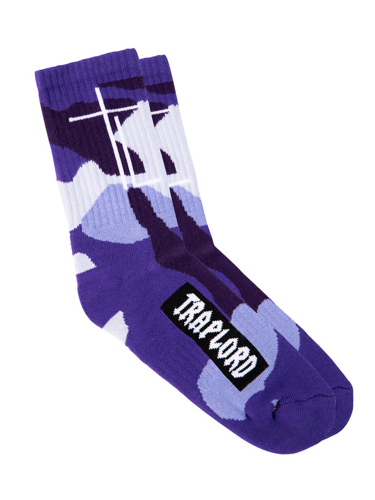 The Trap Lord Socks in Blue Violet Camo