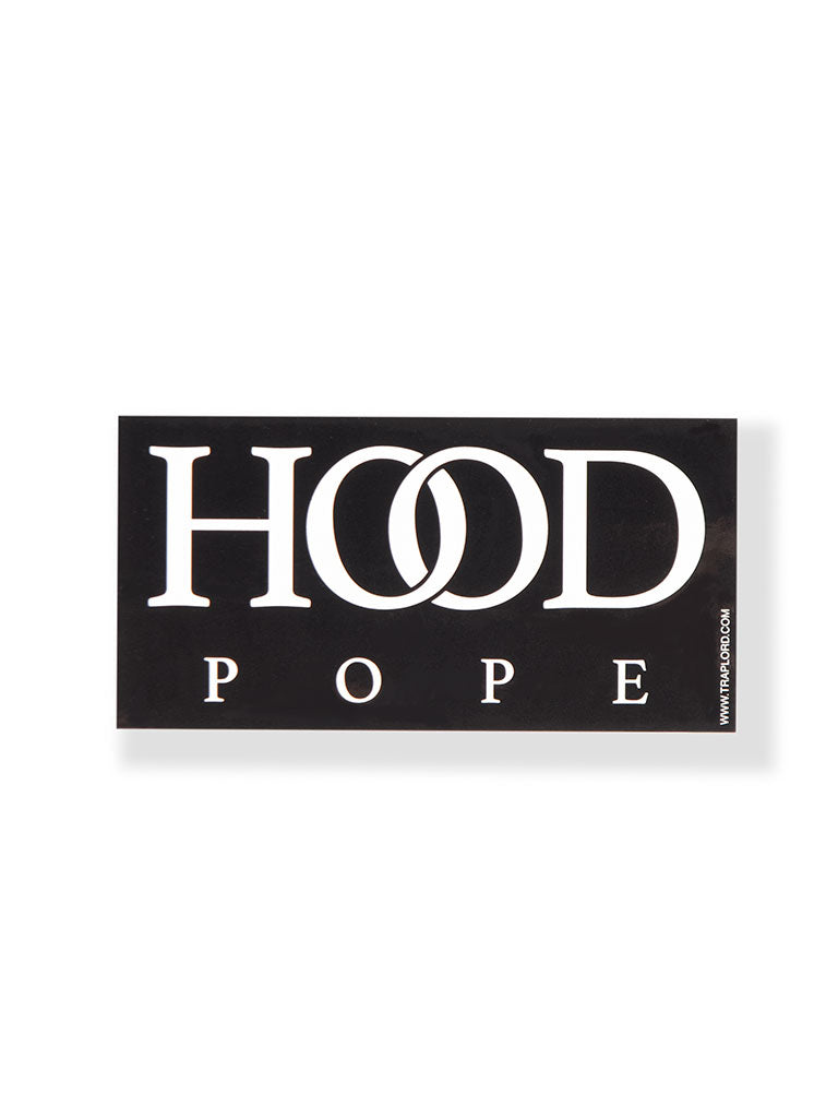 THE TRAP LORD HOOD POPE STICKER IN BLACK