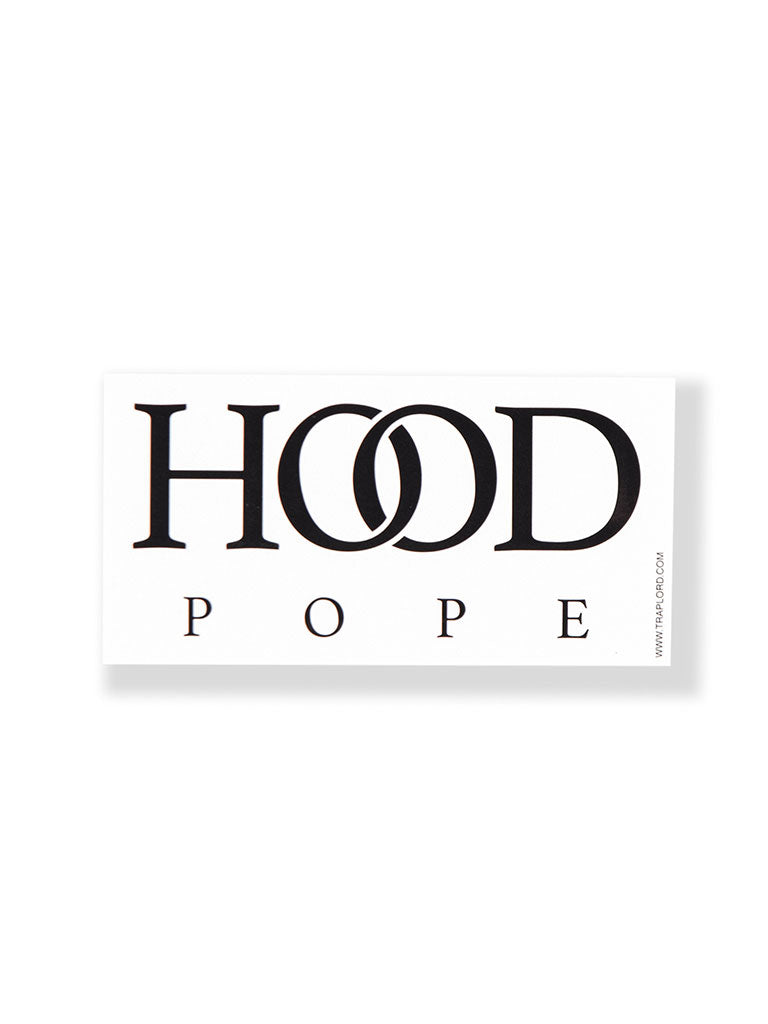 THE TRAP LORD HOOD POPE STICKER IN WHITE