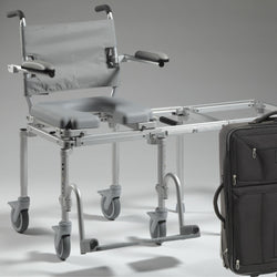 Nuprodx MC6000Tx Travel Rolling Toilet Commode Chair & Tub Slider - Reliving Mobility