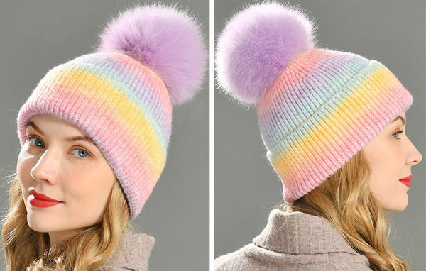 Cashmere Blend Rainbow Multicolour Beanie Hat with Fur PomPom