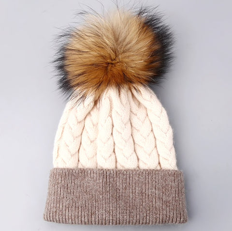 Pearl Beanie Hat with Fur PomPom