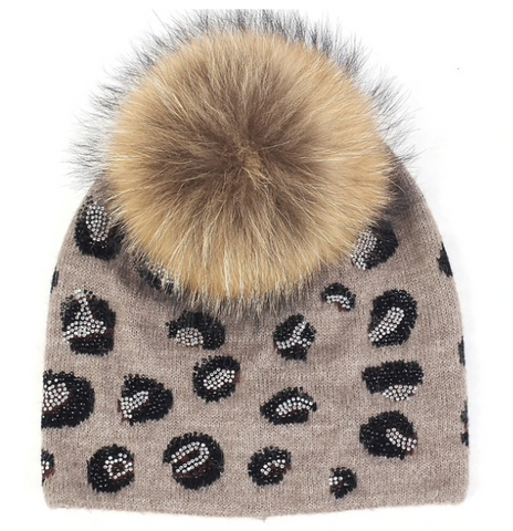 Black on Black Pearl Beanie Hat with Fur PomPom