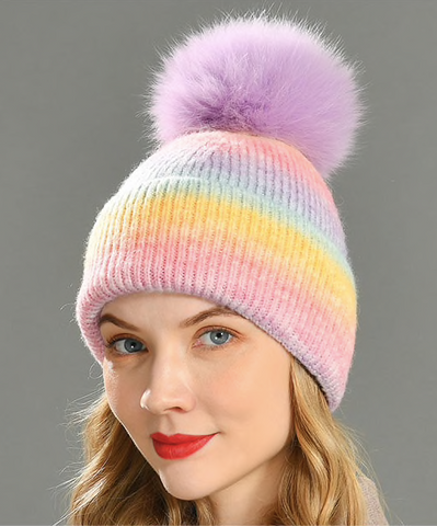 Cashmere Blend Houndstooth Rhinestone Beanie Hat with Fur PomPom